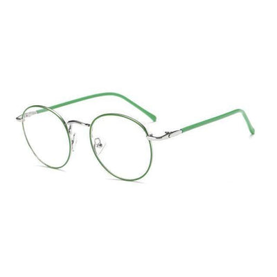 Colorful Kawaii Metal Round Frame Fashion Glasses #JU2202-Silver Green Rim-Juku Store