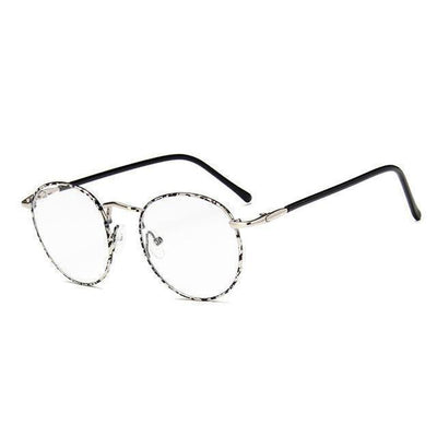 Colorful Kawaii Metal Round Frame Fashion Glasses #JU2202-Silver Spot Rim-Juku Store