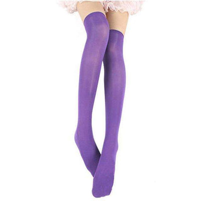 Cosplay Skinny Knee Stockings Thigh High Socks [7 Colors] #JU1862-Purple-Juku Store