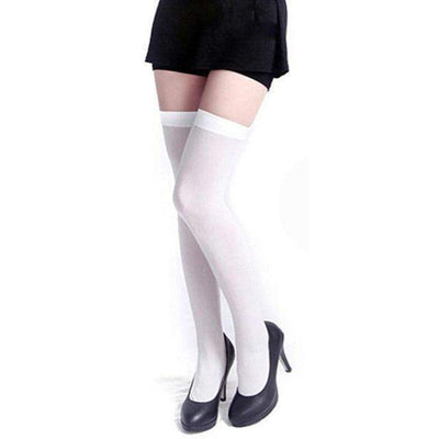 Cosplay Skinny Knee Stockings Thigh High Socks [7 Colors] #JU1862-White-Juku Store