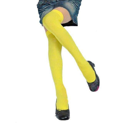 Cosplay Skinny Knee Stockings Thigh High Socks [7 Colors] #JU1862-Yellow-Juku Store