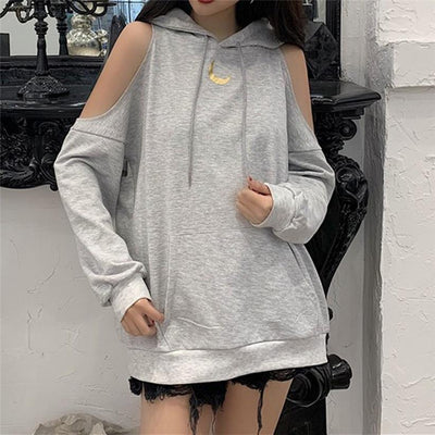 Crescent Moon Off Shoulder Hoodie Harajuku Sweatshirt #JU2791-Juku Store