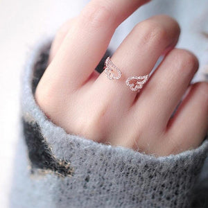 Cute Angel Wings Adjustable Ring [2 Colors] #JU1884-Juku Store