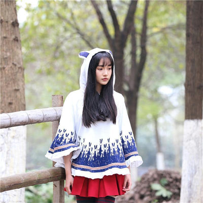 Cute Autumn Rabbit Ear Hooded Cloak [3 Colors] #JU1858-Juku Store