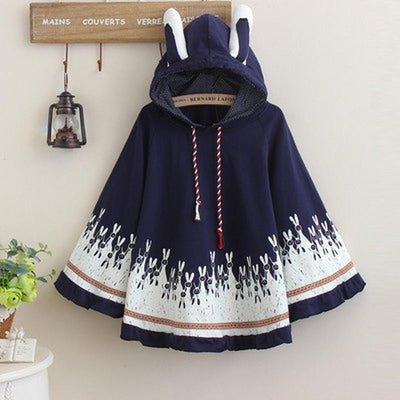 Cute Autumn Rabbit Ear Hooded Cloak [3 Colors] #JU1858-Navy Blue-One Size-Juku Store