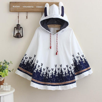Cute Autumn Rabbit Ear Hooded Cloak [3 Colors] #JU1858-White-One Size-Juku Store