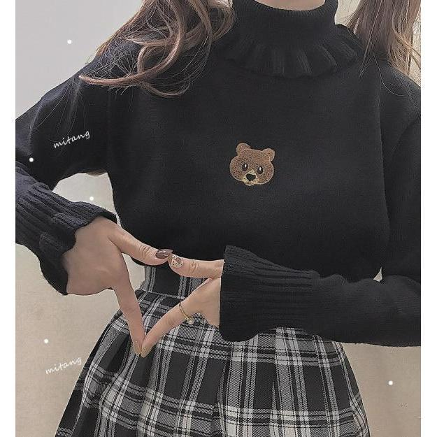 Cute Bear RuffleTurtleneck Sweater Kawaii Outerwear #JU2545