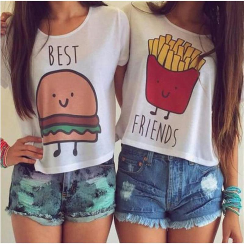 Cute Best Friends Burger and French Fries Print T-Shirt [4 Styles] #JU2007-Juku Store