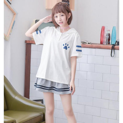 Cute Cat Eared Hooded Short Sleeve T-Shirt [2 Colors] #JU2313-Juku Store