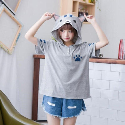 Cute Cat Eared Hooded Short Sleeve T-Shirt [2 Colors] #JU2313-Gray-One Size-Juku Store