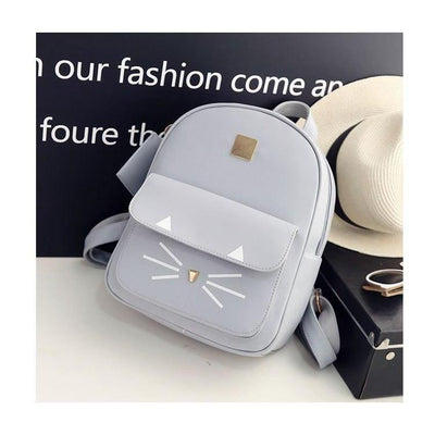Cute Cat Print Leather Backpack [3 Colors] #JU2346-Juku Store