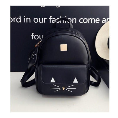 Cute Cat Print Leather Backpack [3 Colors] #JU2346-Black-Juku Store