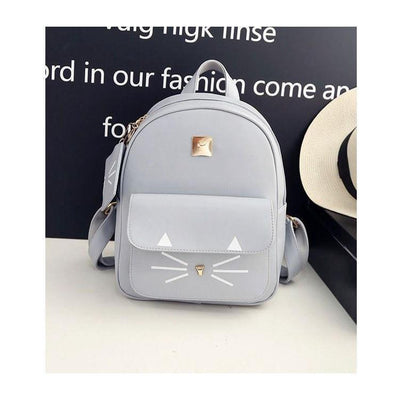 Cute Cat Print Leather Backpack [3 Colors] #JU2346-Gray-Juku Store