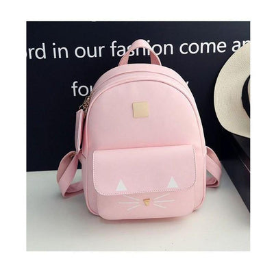 Cute Cat Print Leather Backpack [3 Colors] #JU2346-Pink-Juku Store