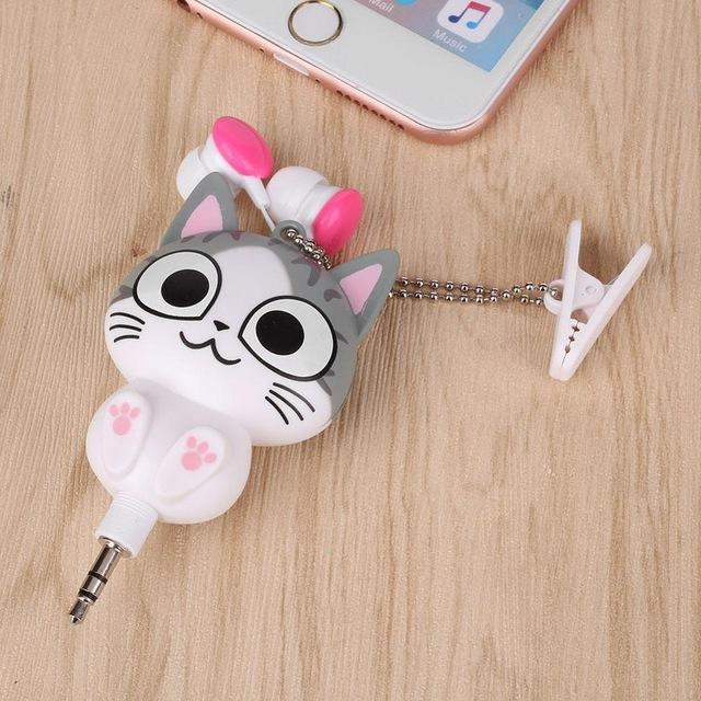Cute Cat/Panda Retractable Earphone [3 Styles] #JU1875-Cat Open Eyed-Juku Store