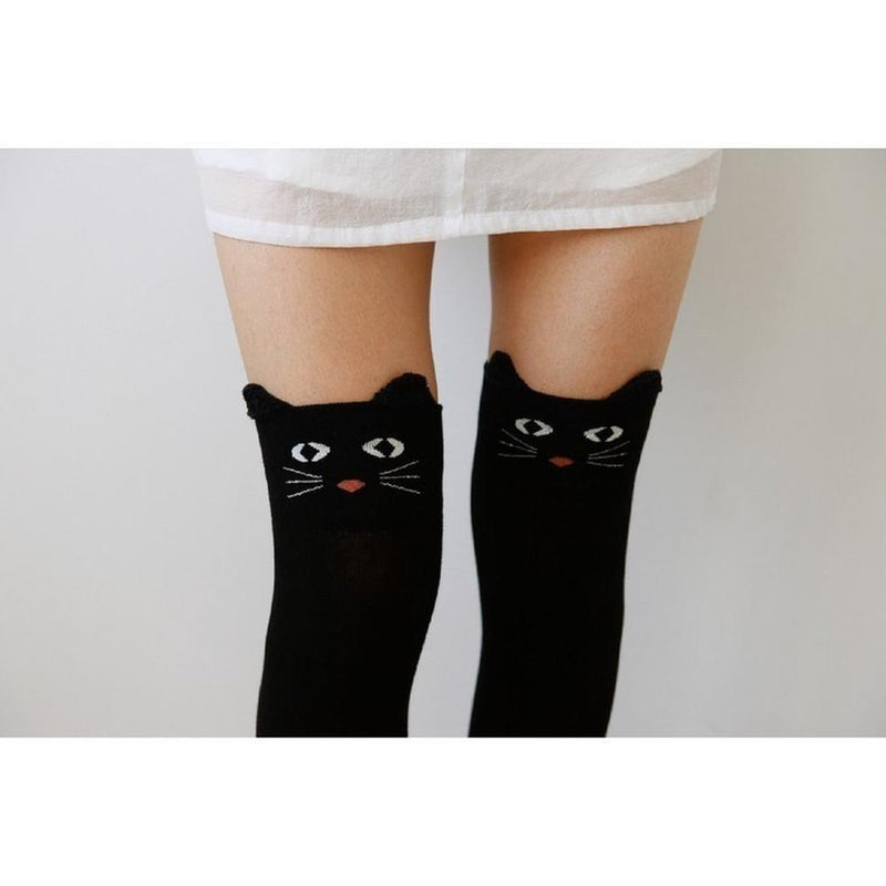 Cute Cats And Bears Animal Thigh Socks [3 Styles] #JU1835-Black Cat-Juku Store