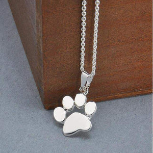 Cute Doggy Paw Necklace [2 Colors] #JU1915-Silver-45cm-Juku Store