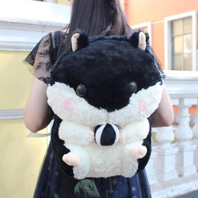 Cute Hamster Plush Backpack [3 Colors] #JU2351-Black-Juku Store