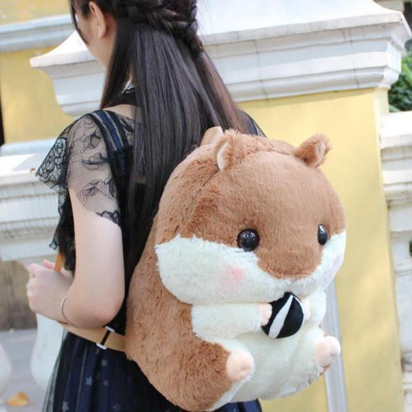 Cute Hamster Plush Backpack [3 Colors] #JU2351-Brown-Juku Store
