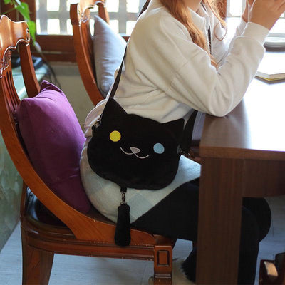 Cute Neko Atsume Crossbody Bag #JU2196-Black-Juku Store