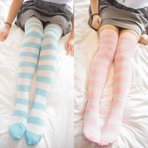 Cute Pastel Thigh High Over Knee Striped Socks [11 Colors] #JU2217-Juku Store