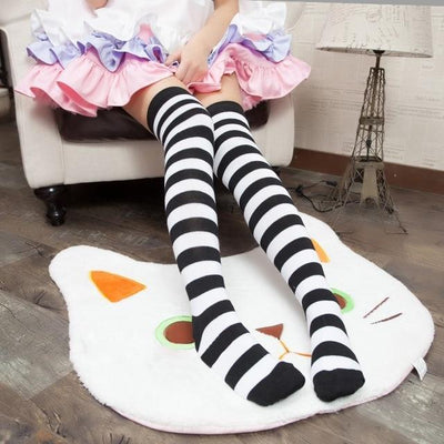Cute Pastel Thigh High Over Knee Striped Socks [11 Colors] #JU2217-Black-Juku Store