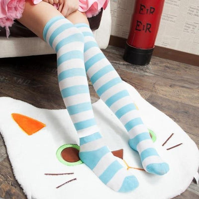 Cute Pastel Thigh High Over Knee Striped Socks [11 Colors] #JU2217-Blue-Juku Store