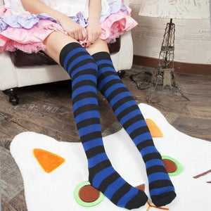 Cute Pastel Thigh High Over Knee Striped Socks [11 Colors] #JU2217-Dark Blue-Juku Store