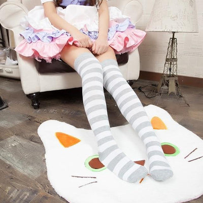 Cute Pastel Thigh High Over Knee Striped Socks [11 Colors] #JU2217-Gray-Juku Store