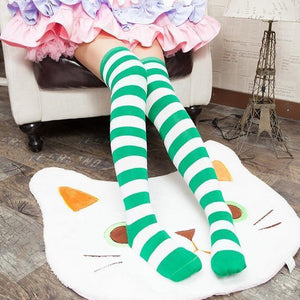 Cute Pastel Thigh High Over Knee Striped Socks [11 Colors] #JU2217-Green-Juku Store