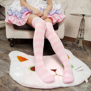 Cute Pastel Thigh High Over Knee Striped Socks [11 Colors] #JU2217-Pink-Juku Store