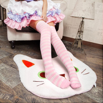 Cute Pastel Thigh High Over Knee Striped Socks [11 Colors] #JU2217-Pink (Narrow Stripes)-Juku Store