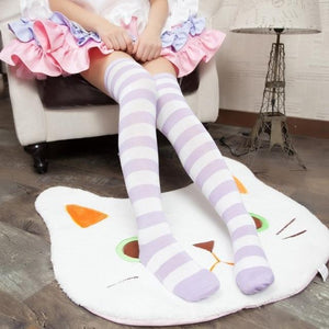 Cute Pastel Thigh High Over Knee Striped Socks [11 Colors] #JU2217-Purple-Juku Store