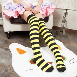 Cute Pastel Thigh High Over Knee Striped Socks [11 Colors] #JU2217-Yellow-Juku Store