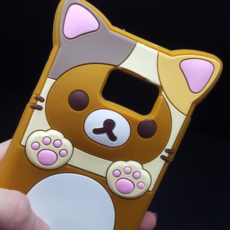 Cute Rilakkuma Bear Silicon Phone Case for Samsung Galaxy S5/S6/S7 Edge/Note 3/4/5/G530/J5 #JU1860-Juku Store