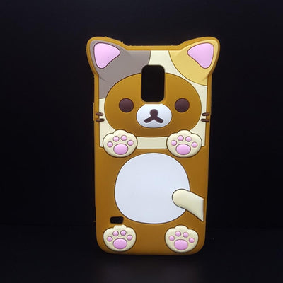 Cute Rilakkuma Bear Silicon Phone Case for Samsung Galaxy S5/S6/S7 Edge/Note 3/4/5/G530/J5 #JU1860-Brown-For Grand Prime G530-Juku Store