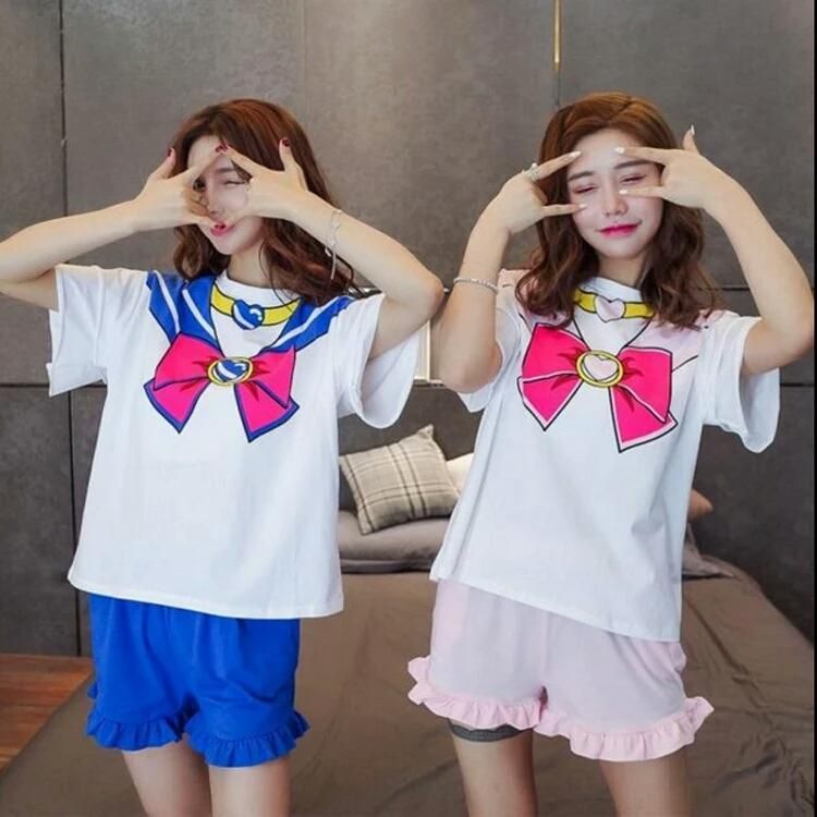 Cute Sailor Moon T-Shirt & Shorts Cosplay Set [2 Colors] #JU2096-Juku Store