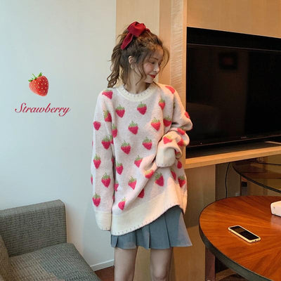 Cute Strawberry Knitted Sweater Winter Casual Pullover #JU2942-Juku Store