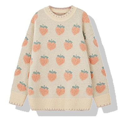 Cute Strawberry Knitted Sweater Winter Casual Pullover #JU2942-Pink-One Size-Juku Store