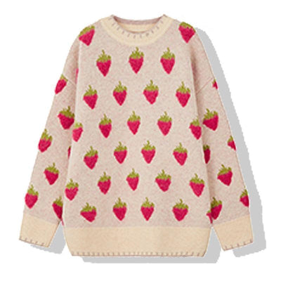 Cute Strawberry Knitted Sweater Winter Casual Pullover #JU2942-Red-One Size-Juku Store