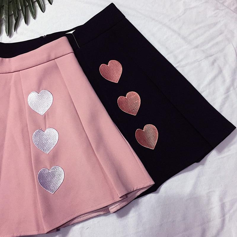 Cute Three Hearts High Waist Mini Skirt [3 Colors] #JU2295-Juku Store