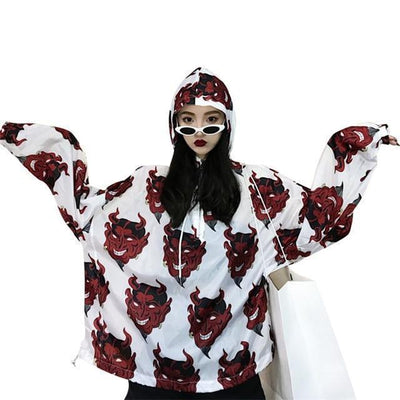 Demon Print Hooded Jacket Harajuku Pullover #JU2396-White-One Size-Juku Store