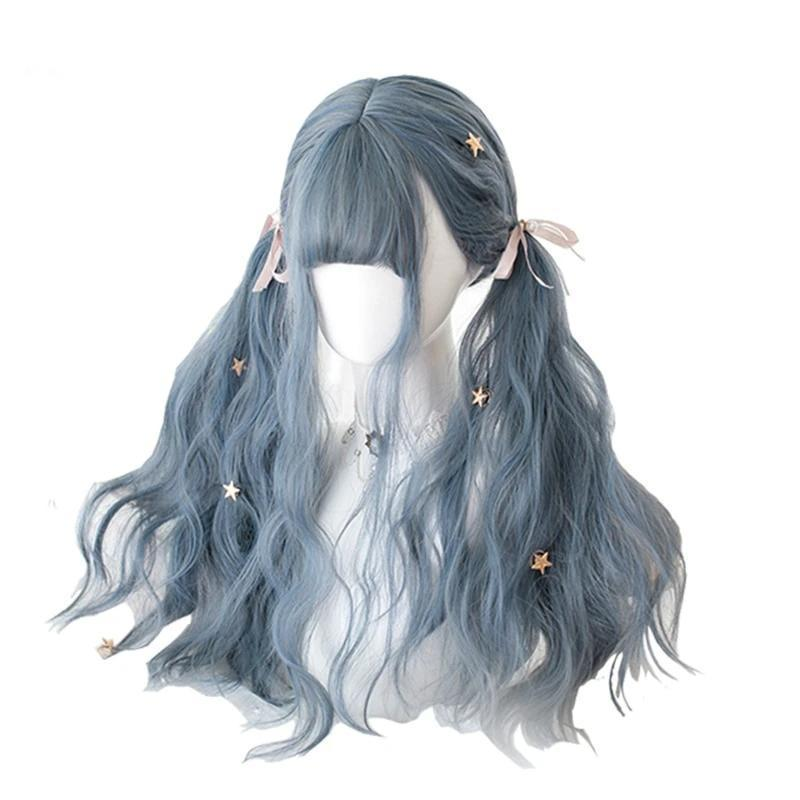 Dusty Blue Grey Lolita Wig Kawaii Cosplay Accessory #JU2767-Juku Store
