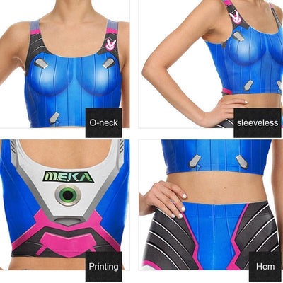 D.VA Overwatch Tank Top and Tights Cosplay Set #JU2162-Juku Store