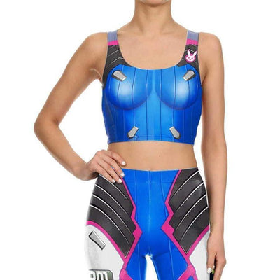 D.VA Overwatch Tank Top and Tights Cosplay Set #JU2162-S-Juku Store