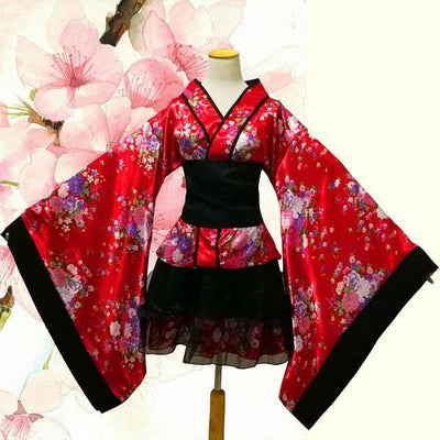 Elegant Lolita Flower Lace Kimono Cosplay [2 Colors] #JU2108-Red-S-Juku Store