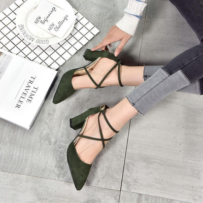 Elegant Pointed Toe High Heels Cross Tie Shoes [4 Colors] #JU2153-Juku Store