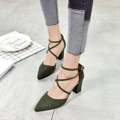 Elegant Pointed Toe High Heels Cross Tie Shoes [4 Colors] #JU2153-Army Green-6-Juku Store