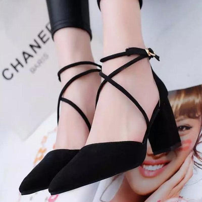 Elegant Pointed Toe High Heels Cross Tie Shoes [4 Colors] #JU2153-Black-6-Juku Store