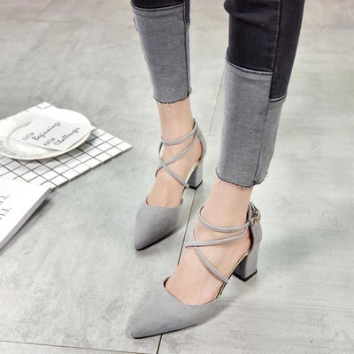 Elegant Pointed Toe High Heels Cross Tie Shoes [4 Colors] #JU2153-Gray-6-Juku Store